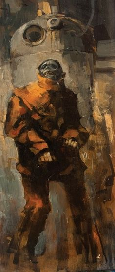 Zombie painting by Ashley Wood.