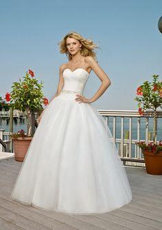 Wedding dress, ball gown, bling belt, white