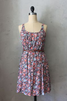 Grey Gardens Dress $48 Super soft dress with floral print and brown skinny belt