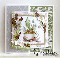 Made with Marianne Design materials. More info on my blo Fancy Fold Cards, Folded Cards, Marianne Design Cards, Cactus Drawing, Card Making Techniques, Handmade Books, Pretty Cards, Diy Cards, Craft Cards