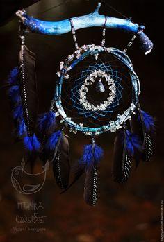 """Купить Ловец снов """"Дитя летних ночей"""" - тёмно-синий, синий, индиго, ловец снов"""