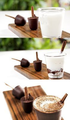 Chocolate quente no palito de canela Ingredientes para um palito de chocolate (ideal para uma xícara pequena de leite de 50-70 ml para um chocolate quente mais encorpado, ou, de 100 ml para um mais suave) 25 gramas de chocolate meio amargo 10 gramas de chocolate ao leite 1 pedaço de pau de canela