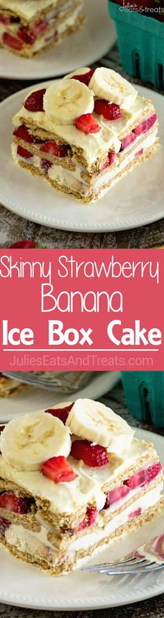 Skinny Strawberry Banana Ice Box Cake Recipe ~ Easy, Traditional Ice Box Cake Recipe Stuffed with Bananas, Strawberries, Graham Crackers and Vanilla Pudding! Plus it's Lightened Up for a Guilt Free Dessert! via @julieseats