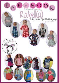 74 -140  Rabell(a) / Hoodie oder Kleid ...  mit BallonRock ... oder einfachem Rock ... mit kurzer oder langer Knopfleiste ... und mit Kapuze oder ohne ...