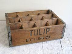 Vintage Wood Box - Tulip Bottling Co. Wood Crate - Industrial Display
