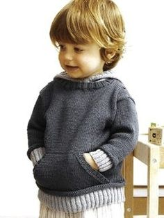 Knitting Patterns Boy Hooded Pullover From: Design It Knit It for Babies (S/S Knitting Patterns Boys, Knitting For Kids, Crochet For Kids, Baby Patterns, Knitting Yarn, Crochet Baby, Knit Crochet, Free Knitting, Pull Bebe