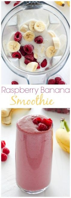 Raspberry Banana Smoothie - sweet, creamy, healthy, and SO delicious! -> hier geht's zu Smoothie Mixer Angeboten!