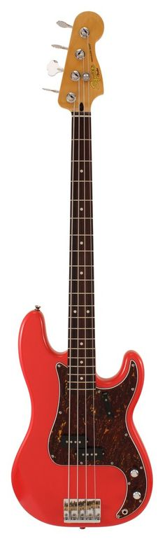 Fender Squier Classic Vibe 60s Precision Electric Bass Guitar Fiesta Red | Rainbow Guitars