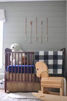 Camping Nursery - love the adorable arrows and rustic look of this sweet baby boy nursery!