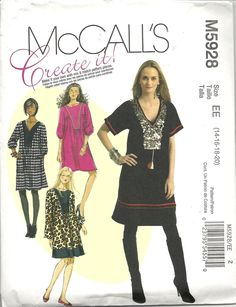 McCall's 5928 Create It! Pullover, above knee dress has self-faced front neckband, package incl. interchangeable components to create your own design, included are tips for embellishing your finished dress. For lightweight broadcloth, challis, lightweight stable knits, linen. Sizes 14-20. About 4.5 yds for 20 with long sleeves. Bought in McCall's out-of-print sale for $ 1.99. 2009.