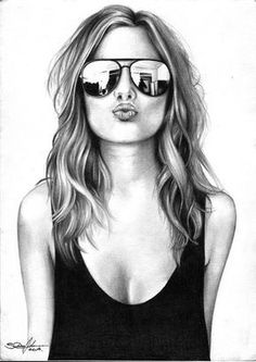 Bleistiftzeichnung Your strengths - (thoughts of Olena Seregina) y . Girly Drawings, Pencil Art Drawings, Art Drawings Sketches, Drawing Faces, Cool Sketches, Art Illustrations, Illustration Art, Girly M, Girls With Glasses