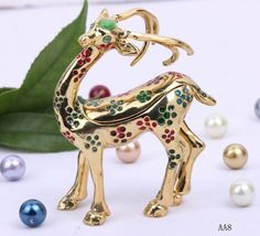 Gold Sika Deer 95x30mm Handcraft Animals Jewelry Gift Box Enamel Trinket Beading Supplies  #Eozy