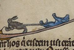 Penn Libraries Manuscripts — The dog is me, the dog is you. Medieval World, Medieval Art, Medieval Manuscript, Illuminated Manuscript, Evil Bunny, Old Best Friends, Doodles, Rabbit Art, Flash Art