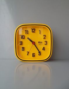 Yellow wall clock Retro Clock Vintage wall clock by BravaVintage, $45.00