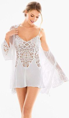 1d01fbb1b Vintage Short Bridal Crochet   Satin Chemise Peignoir Set (XS-Large)