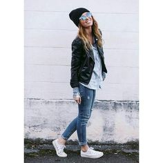 Skinny jeans, light blue button up shirt, black leather jacket, black  beanie, white converse sneakers. Love the look tho with my hair colour I  would change ...