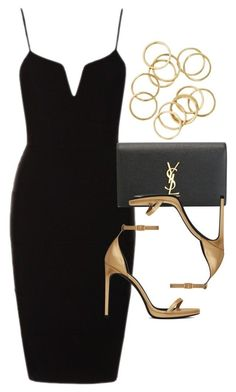 yea, you wont be paying for any drinks when you wear this outfit featuring Yves Saint Laurent Dressy Outfits, Mode Outfits, Night Outfits, Stylish Outfits, Mode Ootd, Look Fashion, Womens Fashion, Elegantes Outfit, Looks Chic