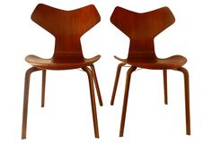 One Kings Lane - Grand Prix Chairs by Arne Jacobsen, Pair