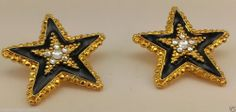 Black enamel and gold tone large star clip on earrings clear crystal center #Huggie