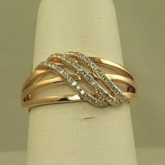 Ladies Rose Gold Diamond Fashion Ring GP