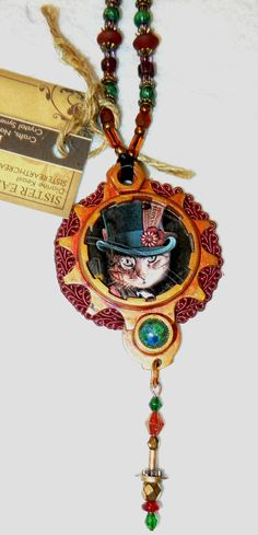 Steampunk Cat Necklace Brass, bike parts, painted patina, large & small gears, semiprecious stones, glass beads