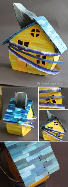 High School Art lesson // David Stabley Cardboard Houses // Art I Intermediate Sculpture Lessons, Sculpture Projects, Sculpture Art, Sculpture Ideas, 3d Art Projects, High School Art Projects, Middle School Art, Art School, Cardboard Art