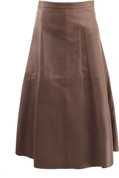 VALENTINO Long Leather Flare Skirt