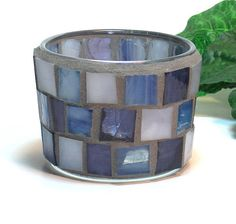 Stained glass mosaic candle holder for by threesisterscandles, $12.00