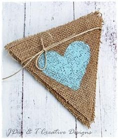 Retro Blue Hearts Bunting Burlap Hessian Shabby Vintage Wedding Birthday Baby | eBay
