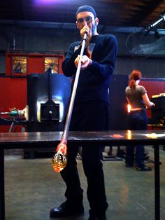 Bay Area Glass Artist Tim Heermann blowing glass at The Crucible, Oakland, CA