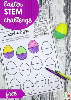 Easter Egg STEM Challenges – The Stem Laboratory – stem Educational Activities For Toddlers, Easter Activities, Spring Activities, Craft Activities For Kids, Kindergarten Activities, Easter Worksheets, Educational Websites, Preschool Ideas, Educational Toys