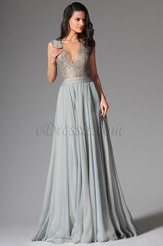eDressit Bluish Grey Sexy Deep V-neck Embroidered Lace Formal Gown  (02146732) Gray 0996532f32