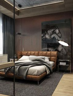 brown leather bed with an upholstered headboard