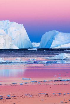Amazing Icebergs View (landscape,iceberg,pink,purple,blue,colors,photography,amazing,nature,beautiful)