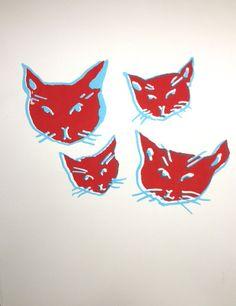 Original Glowing Cat heads print