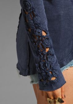 Henley Crochet Cuff Top   #Indigo  #crochet  #freePeople
