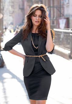 Downtown Julie Brown. Business Look: LBD, Gray Blazer, Animal Print Thin Belt & Gold Necklace
