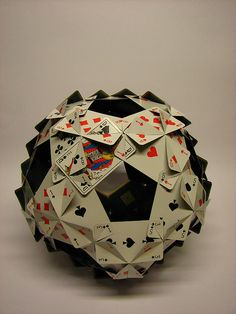 Click on link for the template to make this. Playing Cards polyhedron : following the edges of an icosidodecahedron