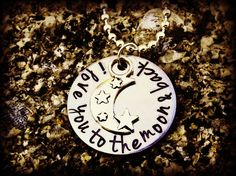 I love you to the moon & back hand stamped by CharmletteDesigns, $26.00