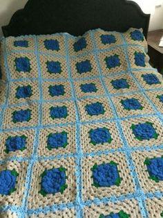 Crochet Blanket Afghan 50 x 72 Handmade Acrylic Blanket 3 colors available Lilac Sea Glass Blue Dark Leaf Green Soft Thick Luxury Throw