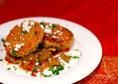 Quinoa Cakes with Eggplant-Tomato Ragu and Goat Cheese, from Love and Olive Oil
