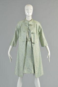 1967 Chinoiserie Silk Brocade Dress + Jacket   BUSTOWN MODERN