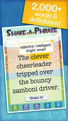 Shake-a-Phrase is a fun language app for creative writing prompts, vocabulary, and parts of speech practice. Perfect for learning and laughing in the classroom or on-the-go, it features over 2,000 words and definitions in 5 engaging themes for ages 8+.