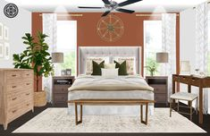 Eclectic, Transitional, Global Bedroom Design by Havenly Interior Designer Dani Eclectic Design, Eclectic Style, Interior Design, Funky Art, Master Bedrooms, Your Space, Color Combinations, Guest Room, Room Ideas