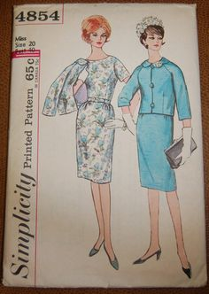 I own this one! Vintage 1960s Simplicity Dress and Jacket Pattern 4854 Size 20