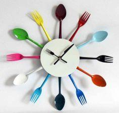 Clock DIY Idea - thrift store silverware, spray paint, clock kit, wooden base.