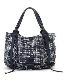 This Navy & White Abstract Jonnie Leather Shoulder Bag by Kooba is perfect! #zulilyfinds