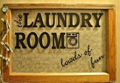 Laundry Room shadowbox sign from an old window.  Follow me for great DIY home decor projects!