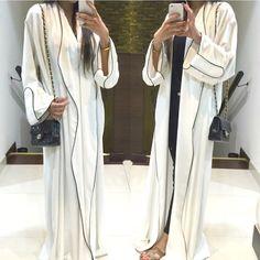 White linen and black piping Abayya