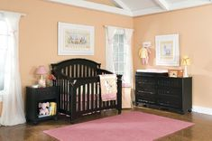 Convertible Crib in Black & changing table dresser combo - like this nursery furniture...